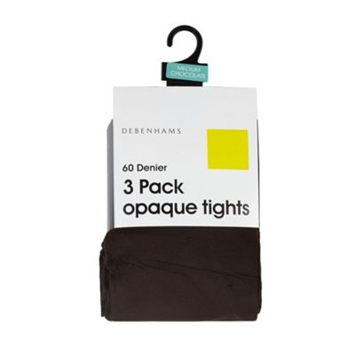 Pack of three brown 60 Denier opaque tights