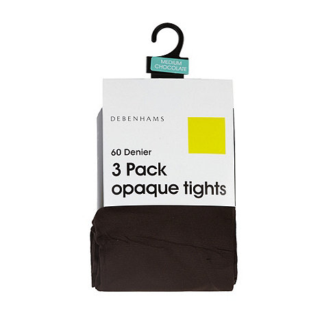 Debenhams - Pack of three brown 60D opaque tights