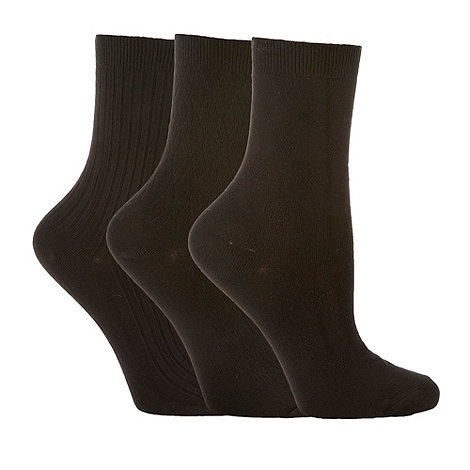Debenhams - Pack of three black opaque textured tights