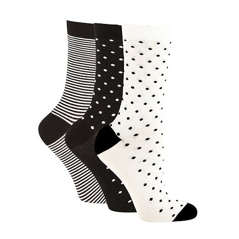 Debenhams - Pack of three black and white soft touch ankle socks