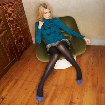 Brown multi colour slub tights
