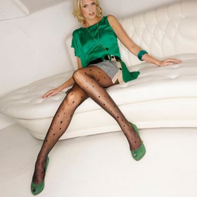 Black sheer multi spot tights