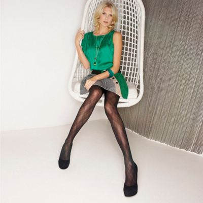 Black sheer argyle tights