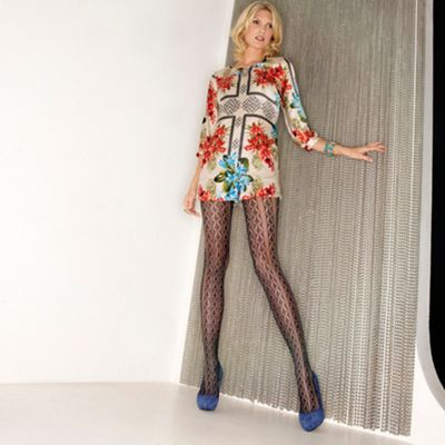 Black fishnet crochet tights