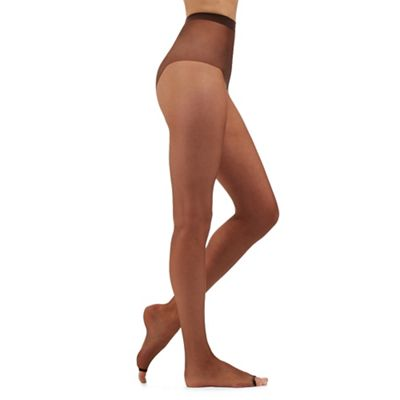Brown 7 denier ladder resistant open toed tights