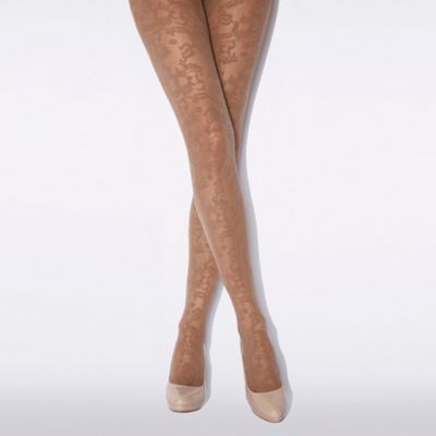 Natural ornate floral tights