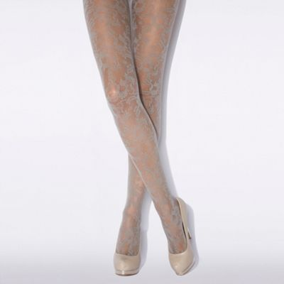 Light grey ornate floral tights