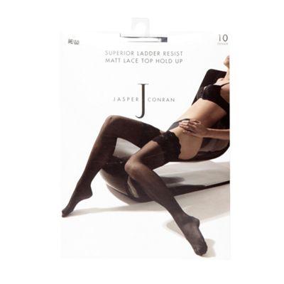 Designer near black 10 denier sheer matt lace hold ups