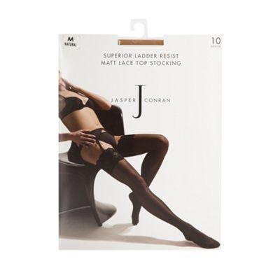 Designer natural 10 Denier ladder resist stockings