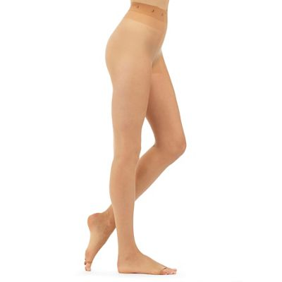 Designer natural 7 denier sheer open toe tights