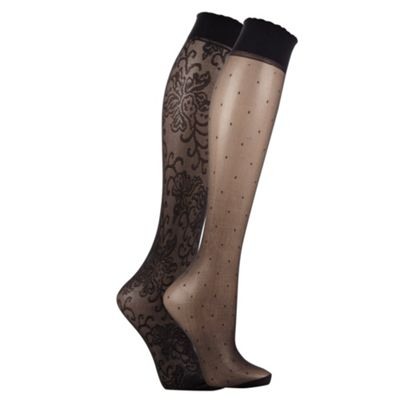 Pack of two of black lace and spotted fashion knee highs