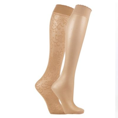 Pack of two of nude lace and spotted fashion knee highs
