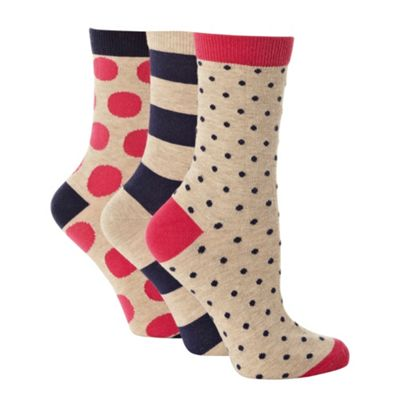 Pack of three beige striped and spotted ankle socks