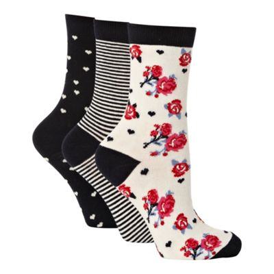 Pack of three navy patterned ankle socks