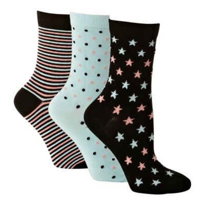 Pack of three black and aqua patterned ankle socks