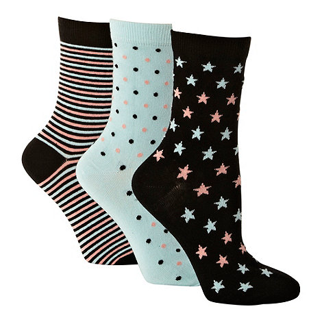 Debenhams - Pack of three black and aqua patterned ankle socks