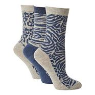 Pack of three grey animal patterned ankle socks