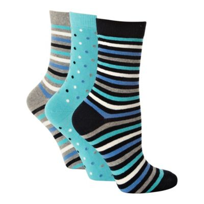 Pack of three aqua grey and navy patterned socks