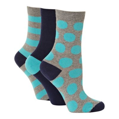 Pack of three bright blue and navy patterned ankle socks
