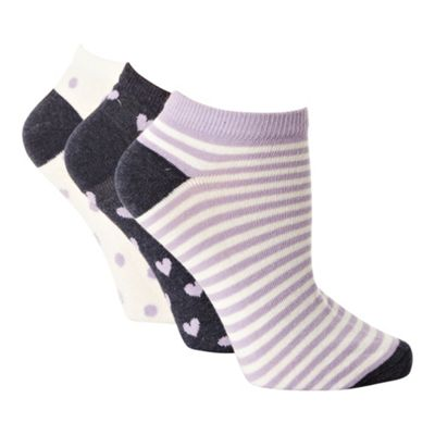 Pack of three lilac patterned trainer socks