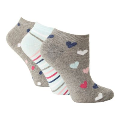 Pack of three grey and aqua patterned trainer socks