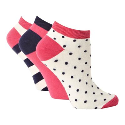 Pack of three pink and navy patterned trainer socks