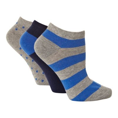Pack of three navy and grey patterned trainer socks