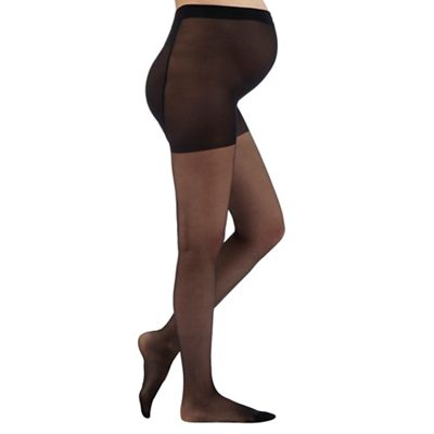 Pack of two black 10 Denier sheer maternity tights
