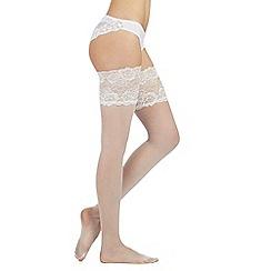 Reger by Janet Reger - Designer ivory 10D deep lace bridal hold ups