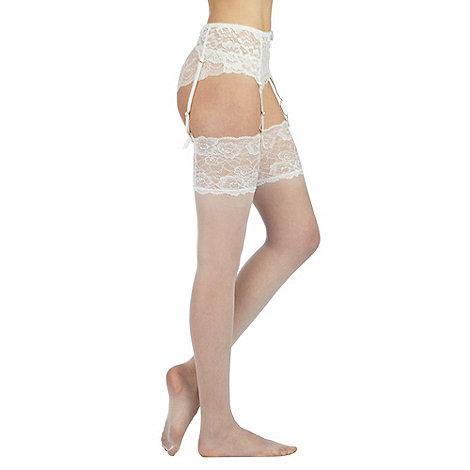 Reger by Janet Reger - Designer ivory sheer 10D lace top hold ups