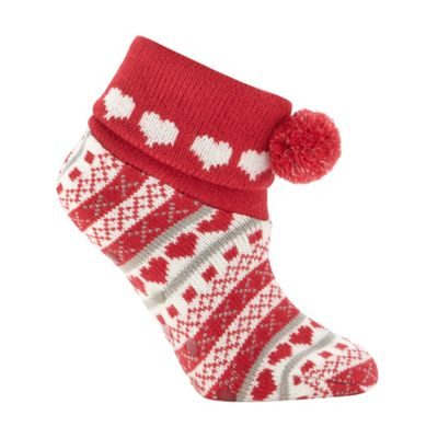 Dark pink fairisle booties