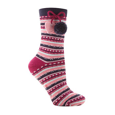 Lounge & Sleep - Pink fairisle pom pom slipper socks