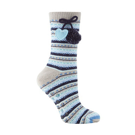 Lounge & Sleep - Blue fairisle pom pom slipper socks