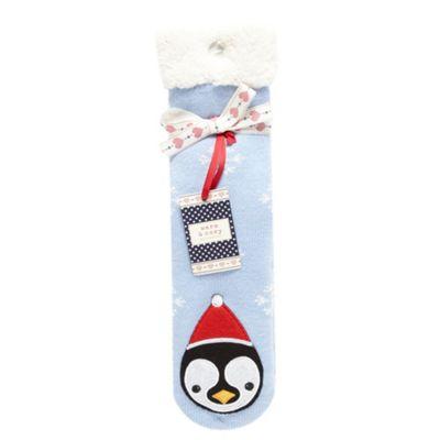Blue penguin socks