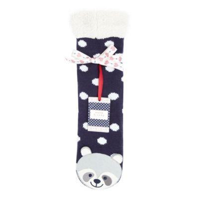 Navy racoon slipper socks