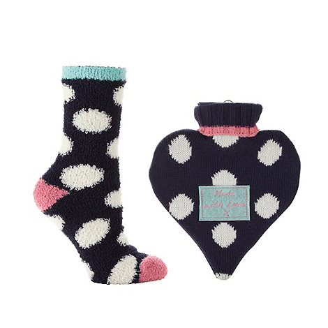 Lounge & Sleep - Navy spotted hot water bottle and socks gift set