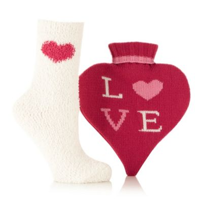 Dark pink heart hot water bottle and socks