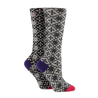 Designer pack of two diamond fairisle knee length socks