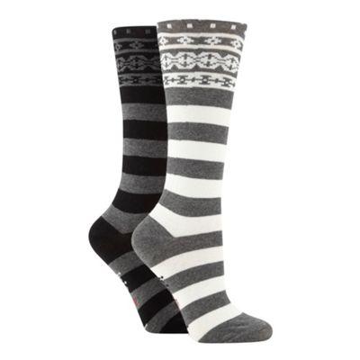 Designer pack of two grey striped knee length socks