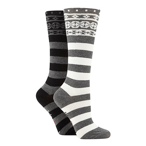 Iris & Edie - Designer pack of two grey striped knee length socks