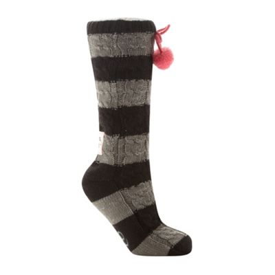 Black striped chunky cable knit slipper socks