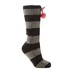 Iris & Edie - Black striped chunky cable knit slipper socks