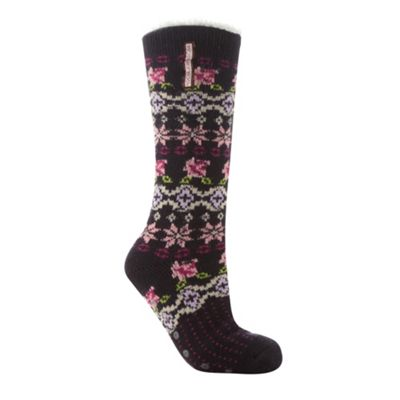 Designer navy floral knit slipper socks