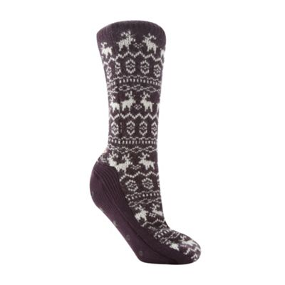 Designer dark purple reindeer knit booties