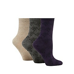 The Collection - Pack of 3 multi-coloured rose textured ankle socks