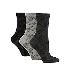 Debenhams - Pack of 3 multi-coloured rose textured ankle socks