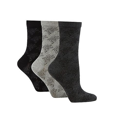 Debenhams - Pack of three black flower socks