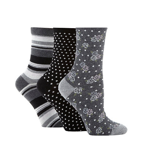 Debenhams - Pack of three grey cotton rich rose pattern ankle socks