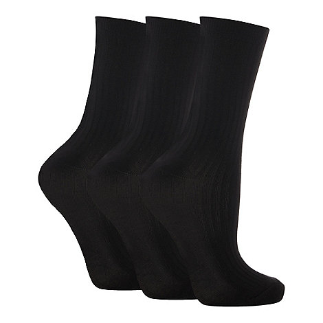 Debenhams - Pack of three black ankle socks