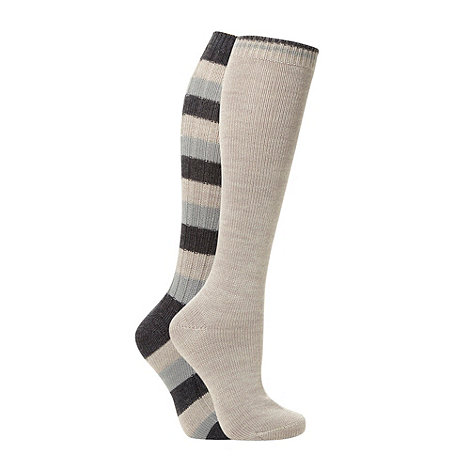 Debenhams - Pack of two beige thermal striped knee high socks